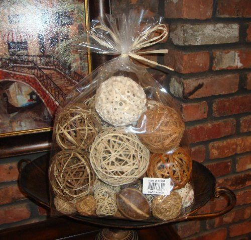 Natural Decorative Balls Captivating Amazon  Bag Of Natural Fiber Decorative Balls Spheres Orbs Inspiration