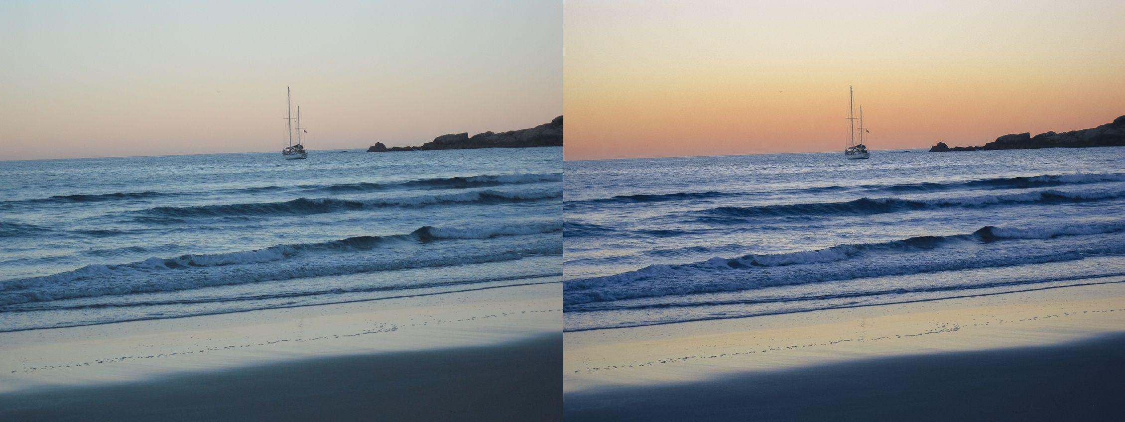 Antes e depois do tratamento de sombras, exposição e contraste