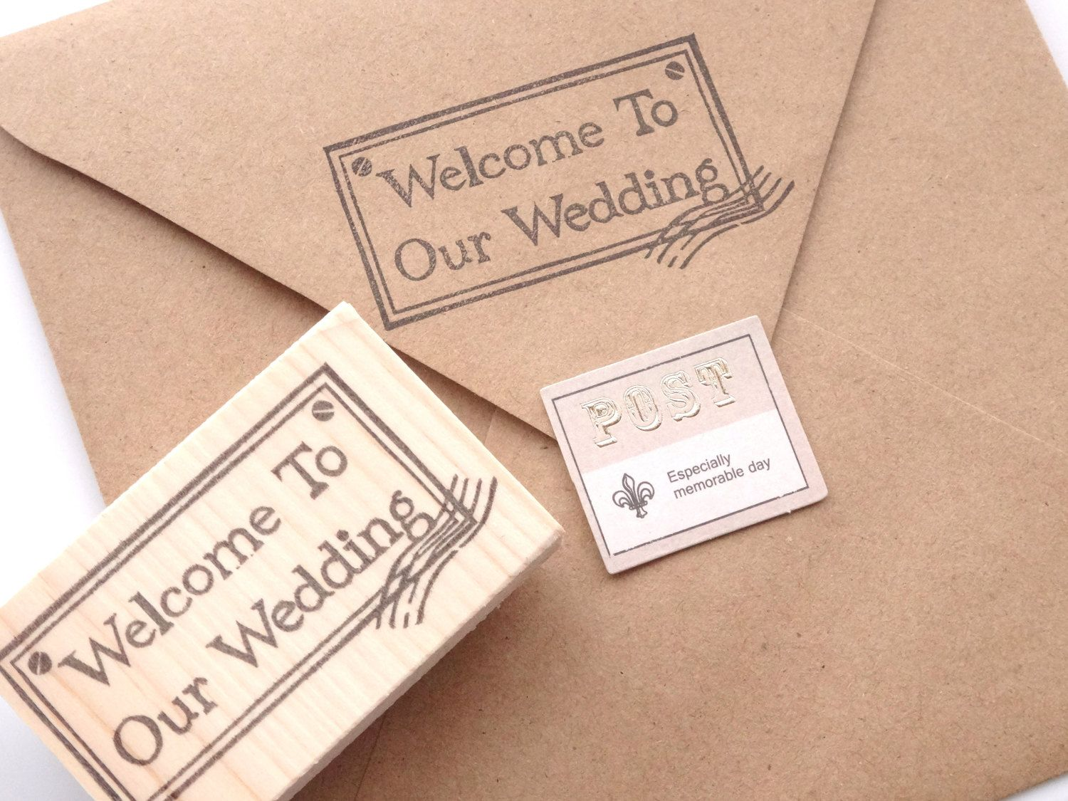 Welcome To Our Wedding Stamp Invitation Decor Diy Wedding Rubber
