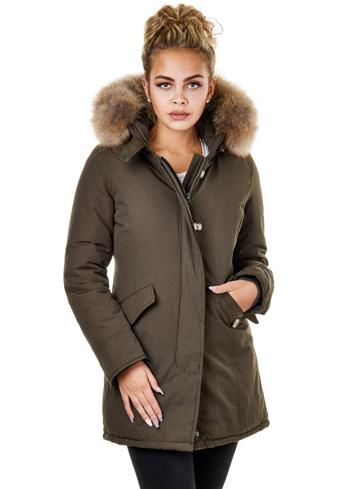 winterjacke damen khaki