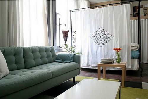 Inexpensive curtains room divider for studio apartment ideas
