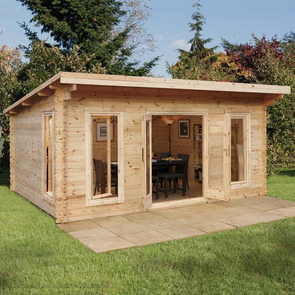 16 39 5 x 13 39 1 ft 5 x 4m wooden garden log cabin office for Log cabin garages for sale
