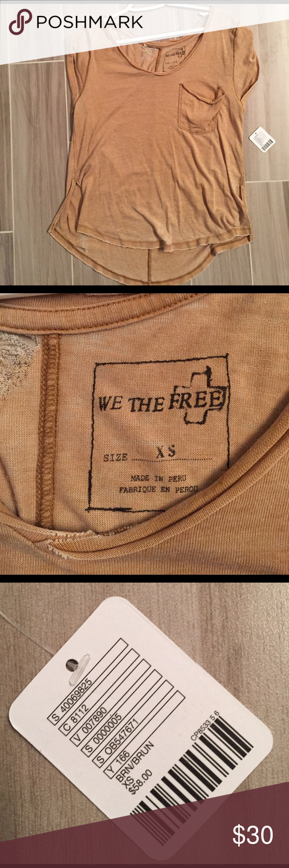NWT We The Free, Free People Brittney Tee Super soft, distressed Brittney Tee from Free People. NWT, size XS, color is a dark beige to light brown color. Free People Tops Tees - Short Sleeve