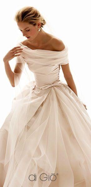 Elegant off the shoulder wedding gown