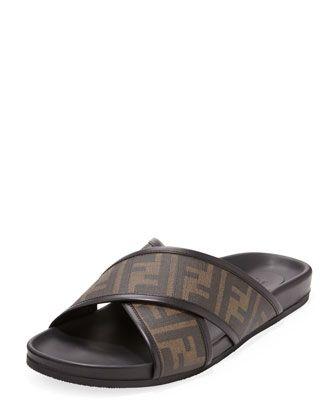 Fendi Zucca-Print Crisscross Sandal