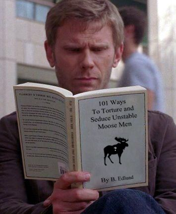 Ok this is Mark Pelegrino (Lucifer) reading a book to torture Sam