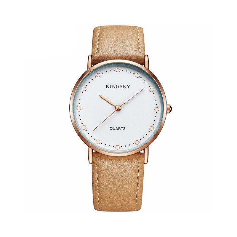 9efed639c9c Relógios Feminino Elegante Pulseira de Couro Marrom Mostrador Branco -  Calitta