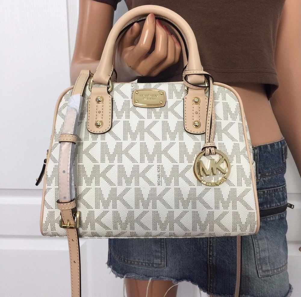 05397ce1e8f55 Michael Kors Crossbody Small Satchel MK Signature PVC Shoulder Bag Purse  Vanilla  MichaelKors  ShoulderBag