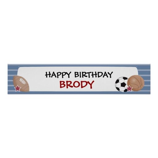 ALL STARS Sports Birthday or Baby Shower Banner Posters