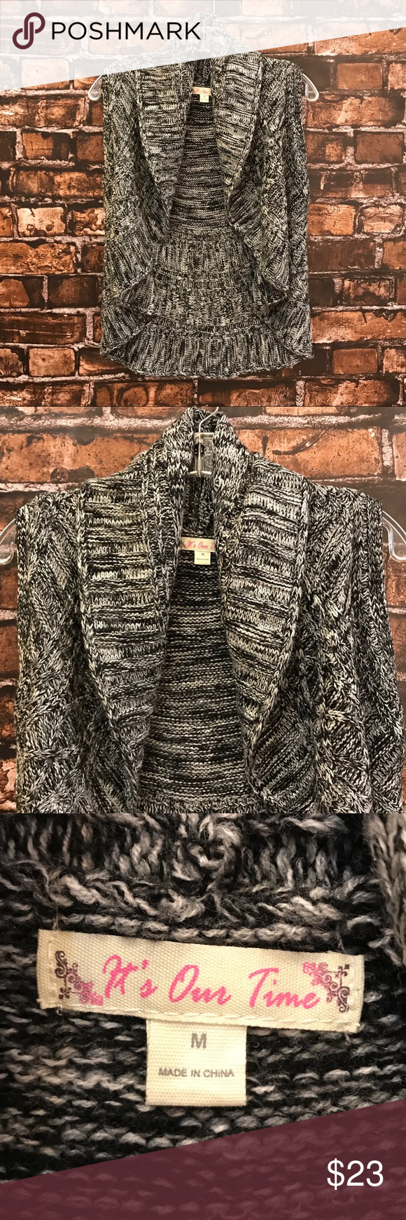 Women's M It's Our Time Black marled ruffle vest✨ Love!! It's Our Time Black marled sweater vest!! Size Medium!! In good condition and absolutely adorable!! (WT867) 🖤✨ It's Our Time Jackets & Coats Vests