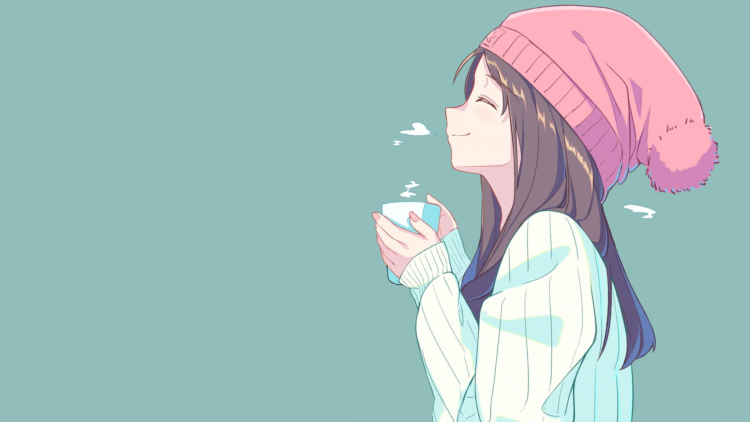 Anime Hat Anime Girls Tea Closed Eyes Simple Background Cup Brunette Face Profile 2k Wa Anime Computer Wallpaper Aesthetic Anime Cute Laptop Wallpaper