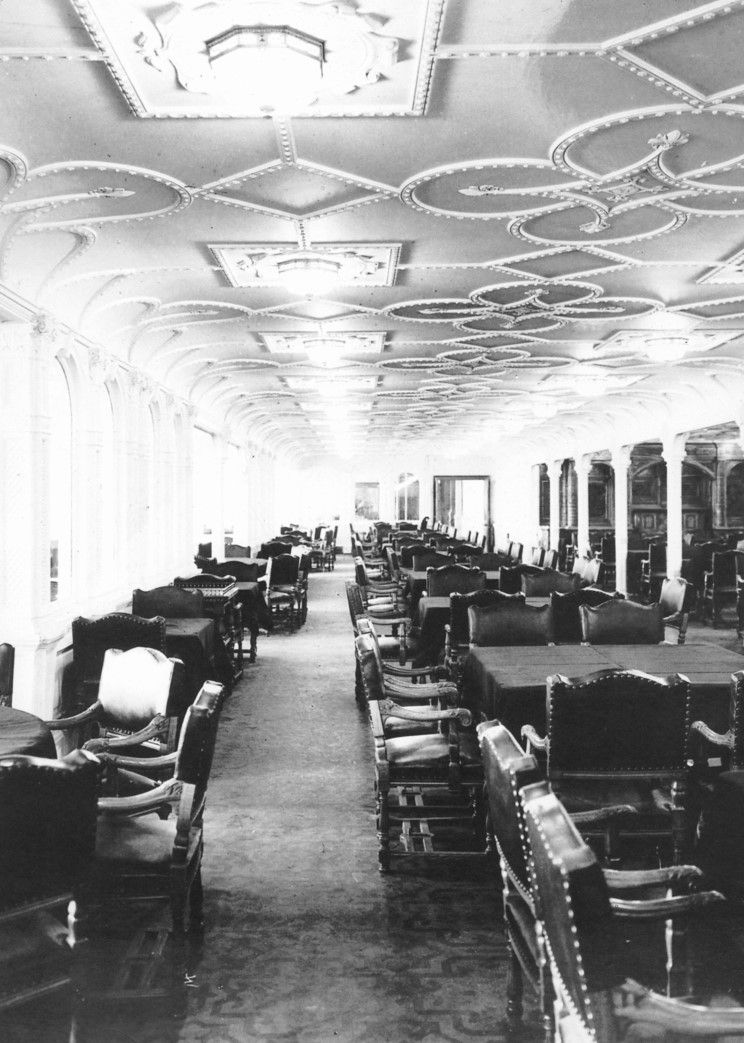 The first Class dining salon located amidships on the D deck ...