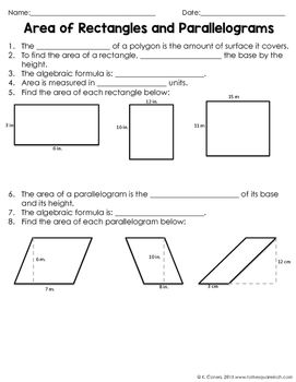 Area Of Rectangles And Parallelograms Notes With Images