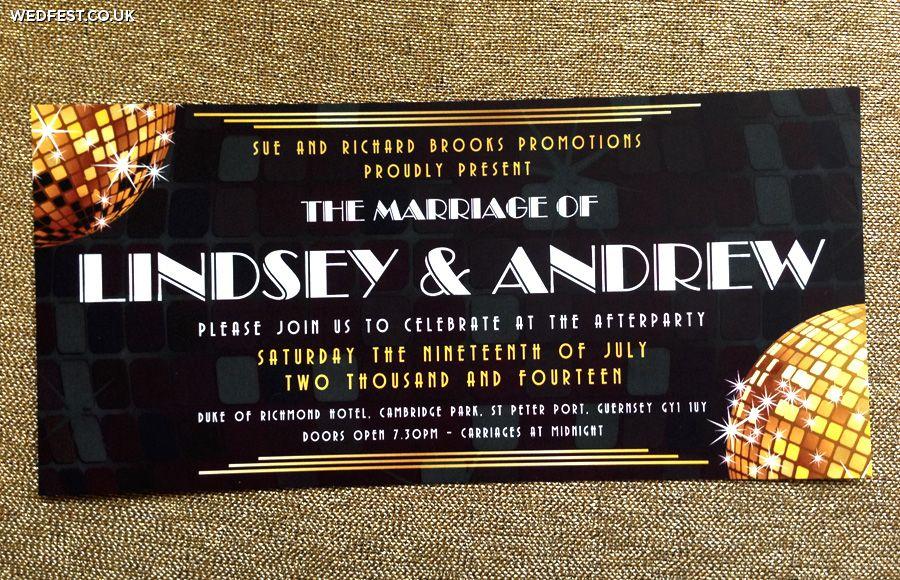 disco themed wedding invitations | Festival Wedding Stationery ...