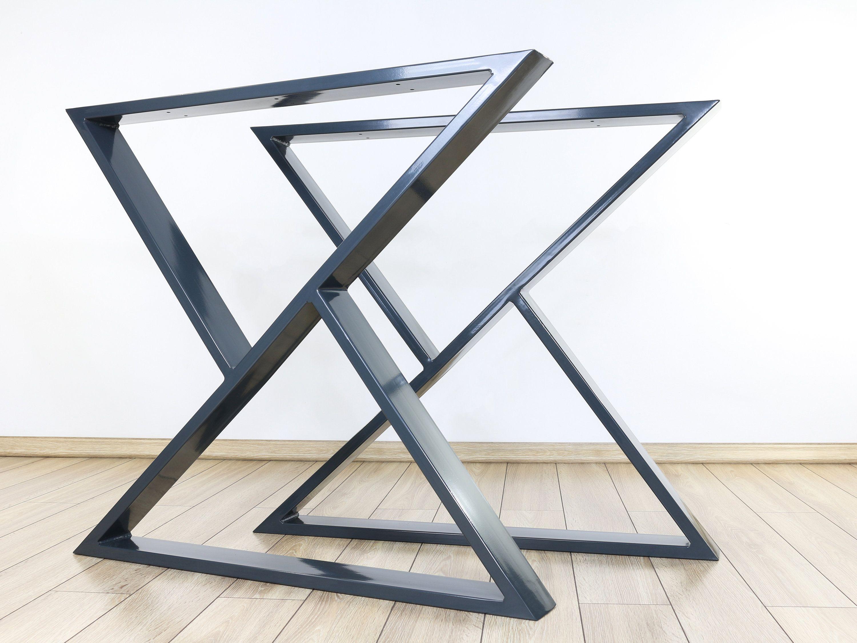 Industrial Dining Table Legs Set Of 2 Steel Table Legs Etsy In 2021 Metal Table Legs Metal Table Metal Desk Legs