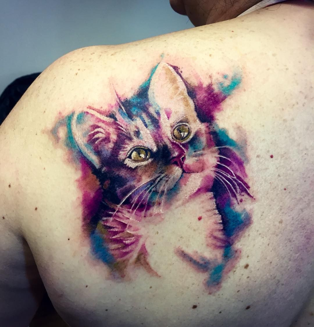 Perfect Tattoo Idea For Moi First Cat Lusafer Watercolor Cat