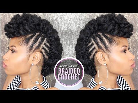 How To Side Braided Crochet Updo Youtube Braided Hairstyles Updo Hair Styles Natural Hair Styles