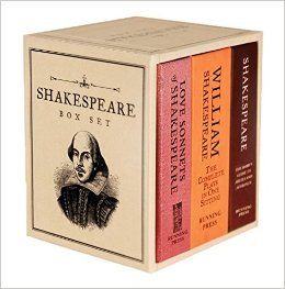 "For fans of the Bard comes a deluxe 3"" wide  x 3.75"" tall boxed set of  three classic Shakespeare mini books:  Shakespeare: The Bard's Guide to Abuses and Affronts, William Shakespeare: The Complete Plays in One Sitting, and Love Sonnets of Shakespeare."