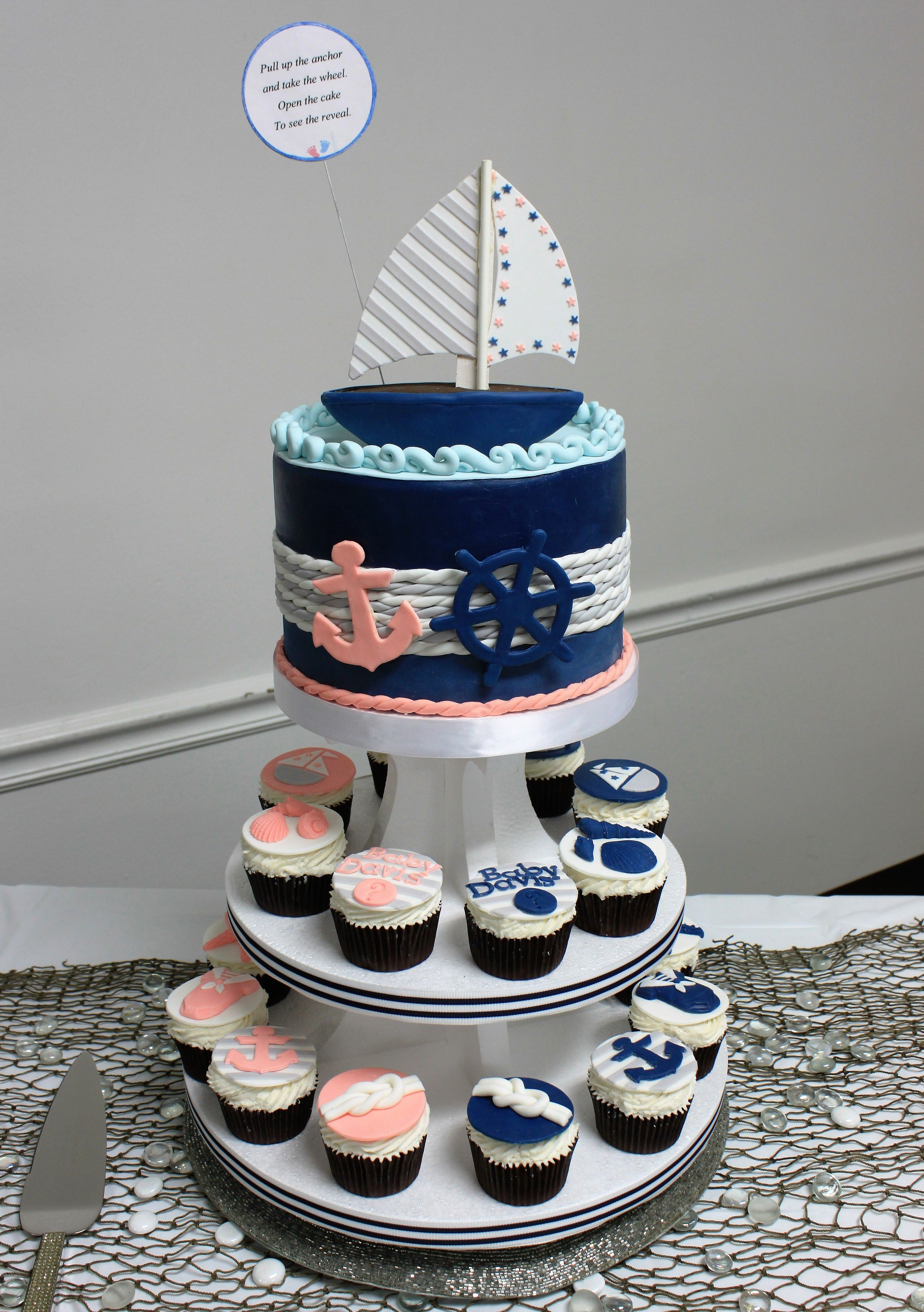 Baby shower cake nautical theme gender reveal party Fondant cake