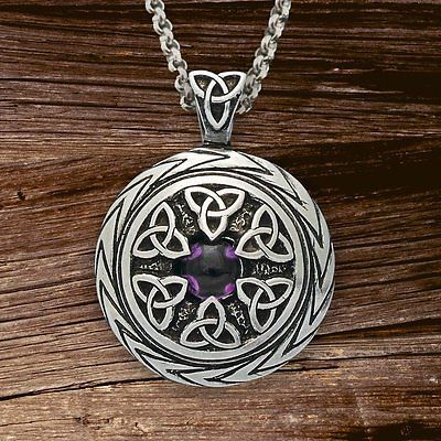 Triquetra Pendant With Amethyst Charmed Symbol Trinity Knot