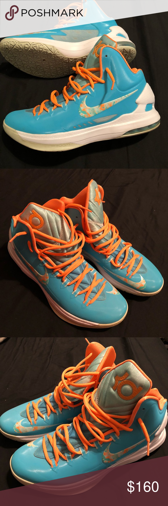 33b23abe286f Men s KD Easter 5s. Baby blue   orange Kevin Durant Nike sneakers. Worn  twice. Nike Shoes Sneakers