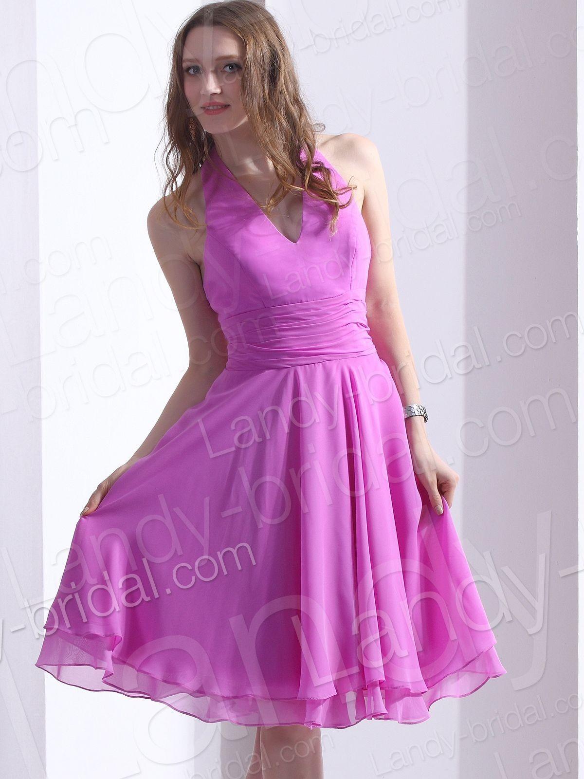 A Line Halter Knee Length Chiffon Red Party Dress Lbpre12067   Boom ...