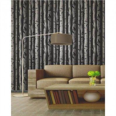 Black / Grey / Silver - FD31052 - Birch Tree - Forest Woods - Fine Decor Wallpaper