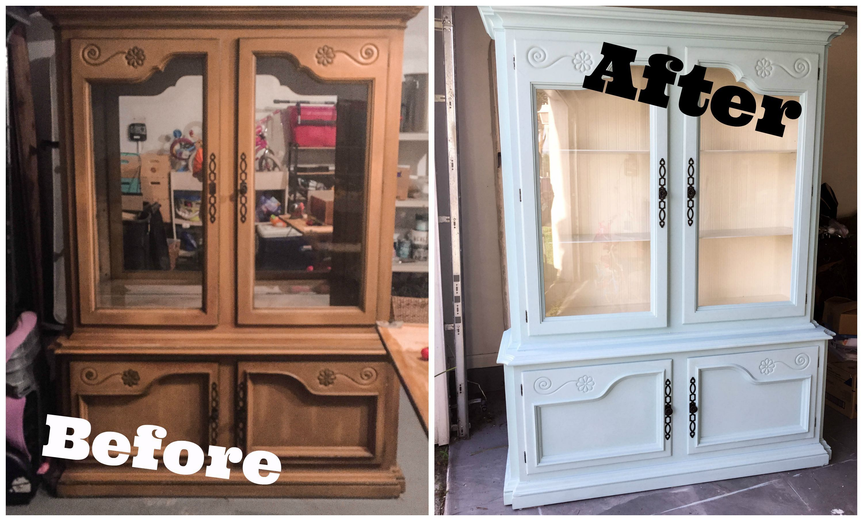 Spray paint for kitchen cupboards  Dining Room Hutch China Cabinet DIY Remodel and makeover  For the