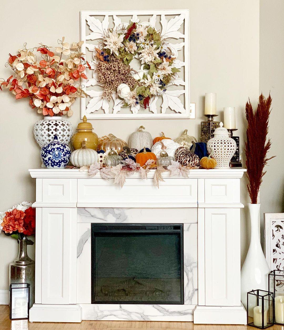 "🤍Christina Marie🤍 on Instagram: ""More fall decor in the house #hellofall #falldecor #lovetodecorate #fallvibes #falliscoming #fall2020 #fallcolors #leopardprint #pumpkins…"""