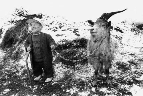 Midget with goat