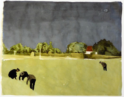 Mamma Andersson  Battue, 2008  mixed media on paper  49 x 62 cm