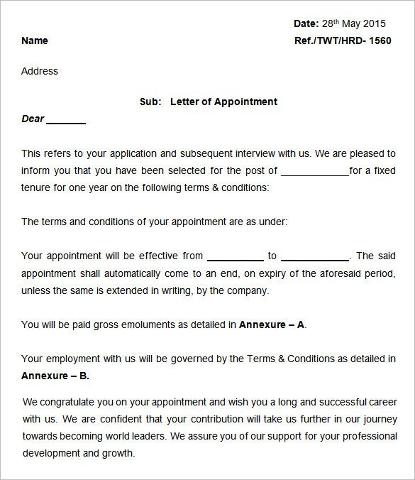 appointment letter templates free sample example format for - sample letter of appointment