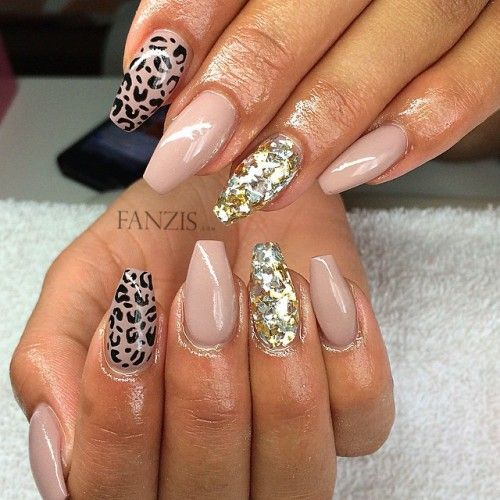 Nude Coffin Nails With Cheetah Design Nails Pinterest Coffin