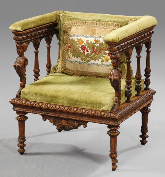 Unusual renaissance style carved mahogany square armchair for Ohrensessel 1900