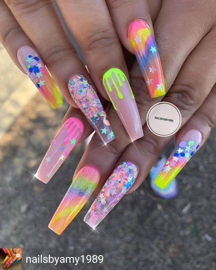 Trendy Rainbow Nails Design Ideas   Long Acrylic N