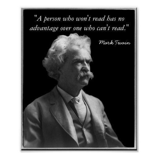 """Mark Twain """"Read"""" Poster Mark twain quotes, Mark twain"""