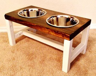 Dog Bowl Feeder Farmhouse Style Rustic Dog Bowl Stand Raised