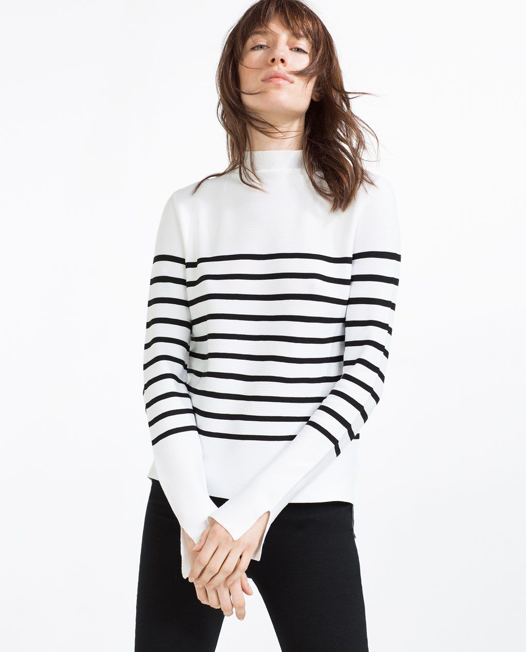 ca7c9bec Love the material of this high neck striped sweater at Zara | www.bold-