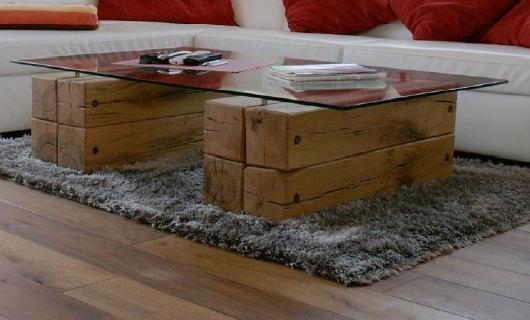 Suche: Wohnzimmer-Tisch Balken Und Glas