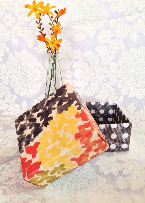 Polka dot and floral Gift Box, handmade large origami box on Etsy, $5.00