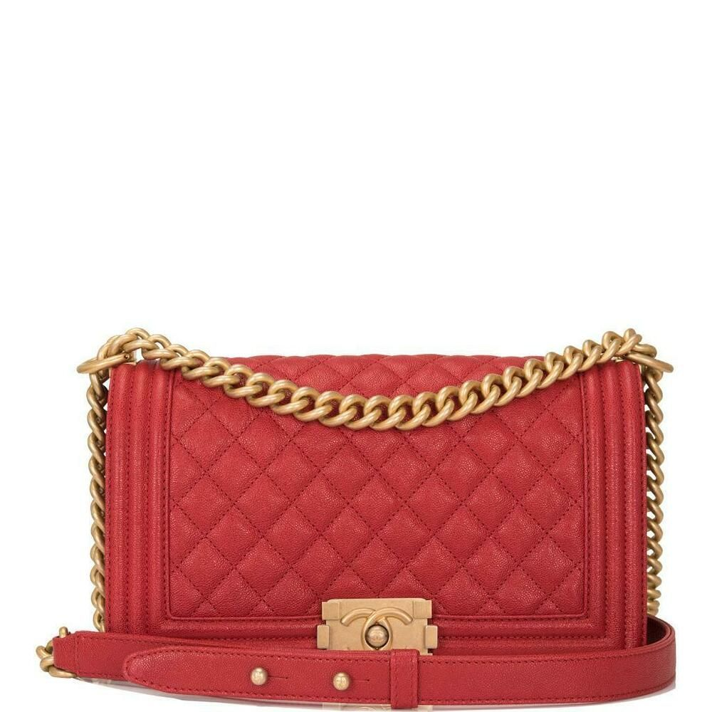 3ed40e5135ba Chanel Red Quilted Caviar Medium Boy Bag #CHANEL #ShoulderBag ...