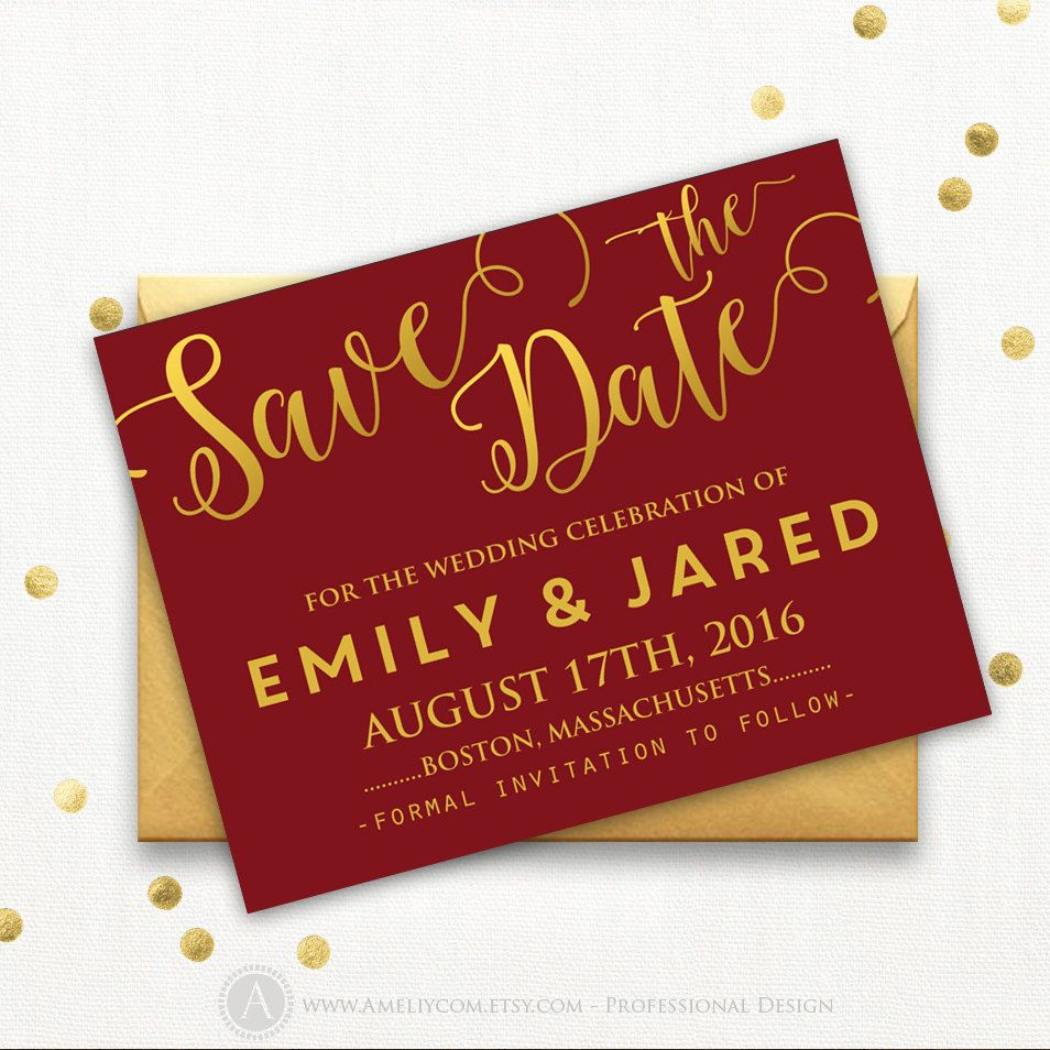 Printable Burgundy Gold Save the Date Card Wedding Save the Date ...