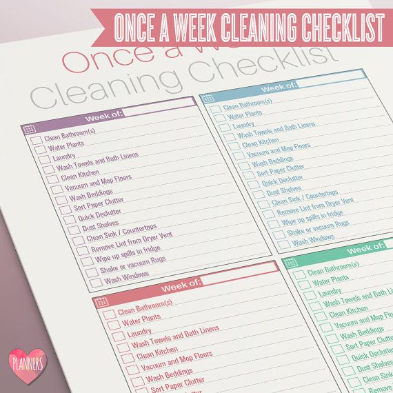Modern One Page Once a Week Cleaning Checklist - Instant Download! PDF format ready to edit or print at home! by I Love Planners