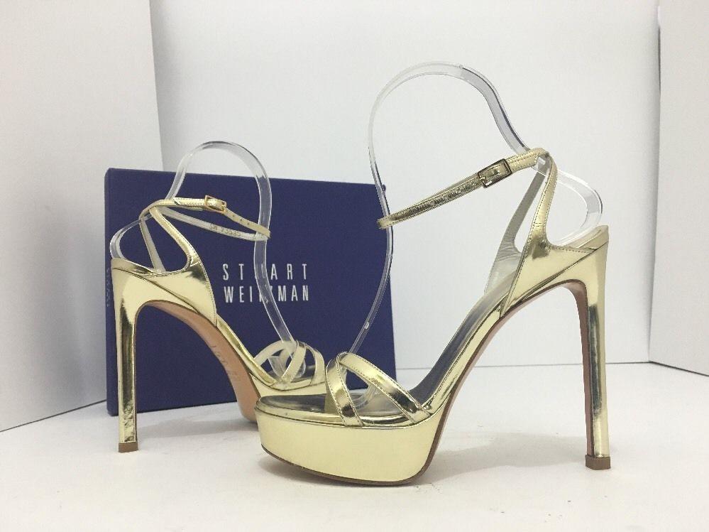 Stuart Weitzman Bebare Pale Gold Specchio Women's Platform High Heels  Sandals 6