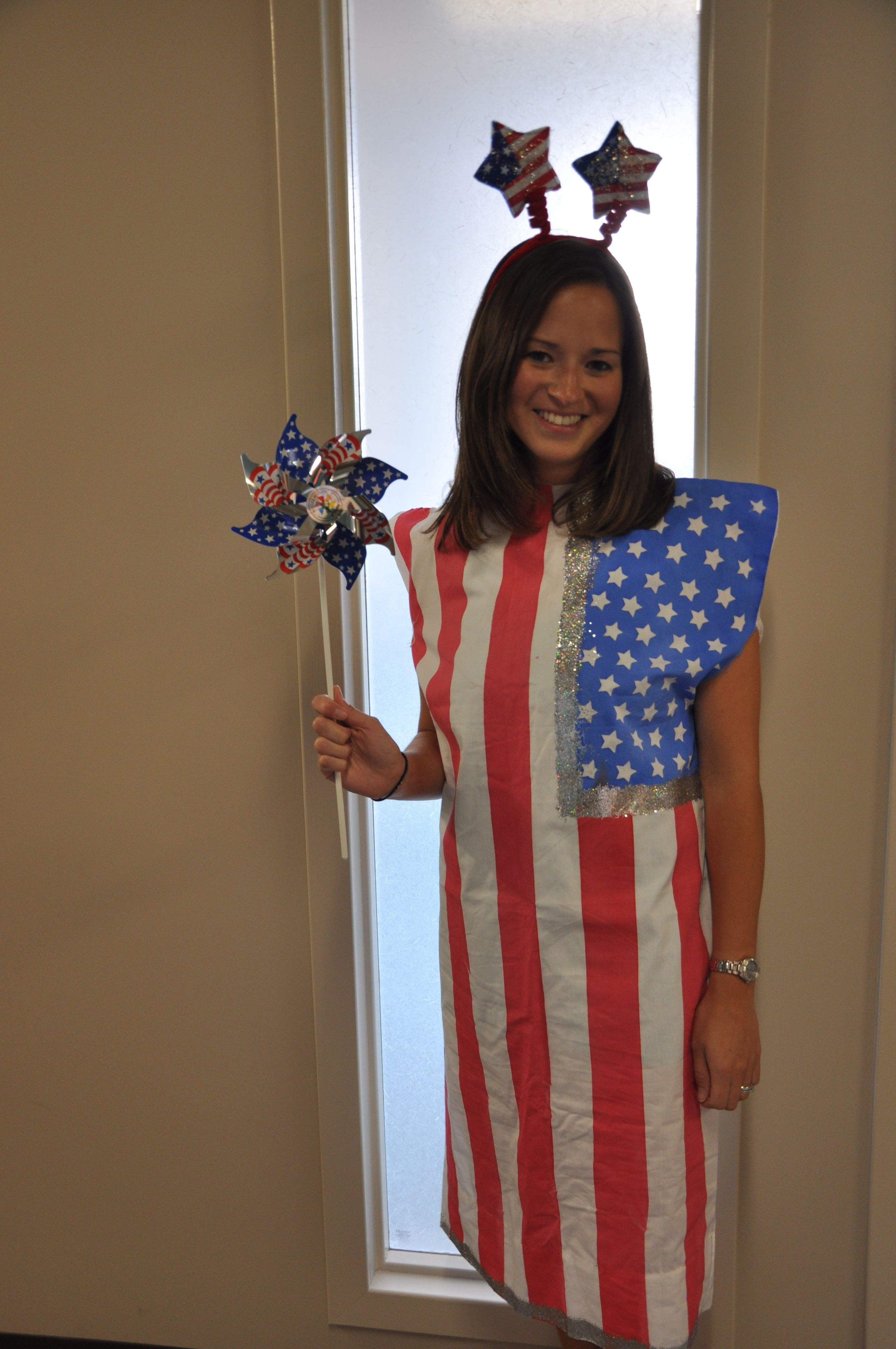 Simple no sew flag costume created with a king size pillowcase blue and red