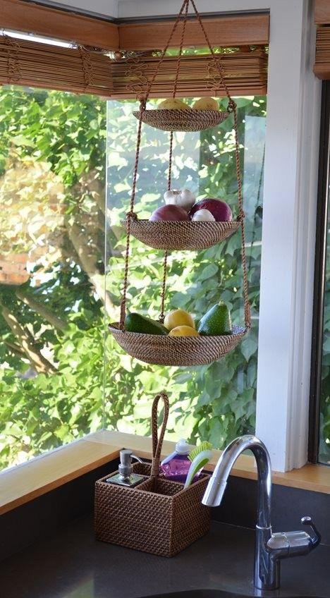 3 Tier Hanging Basket In Rattan Nito Brown Deco Etnique Deco Maison Decor De Cuisine De Ferme