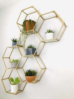 Gold And Glass Honeycomb Wall Shelf Gold Bedroom Decor Wall