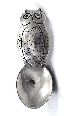 ومن ناحية الفضة المطاوع البومة على شكل ملعقة Hjc Silver Tea Set Silver Tea Silver Teapot