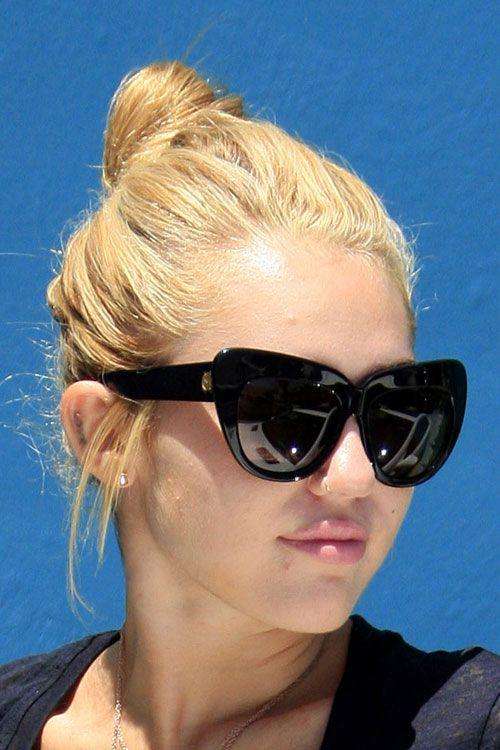 Miley Cyrus Straight Honey Blonde Bun Hairstyle | Steal ...