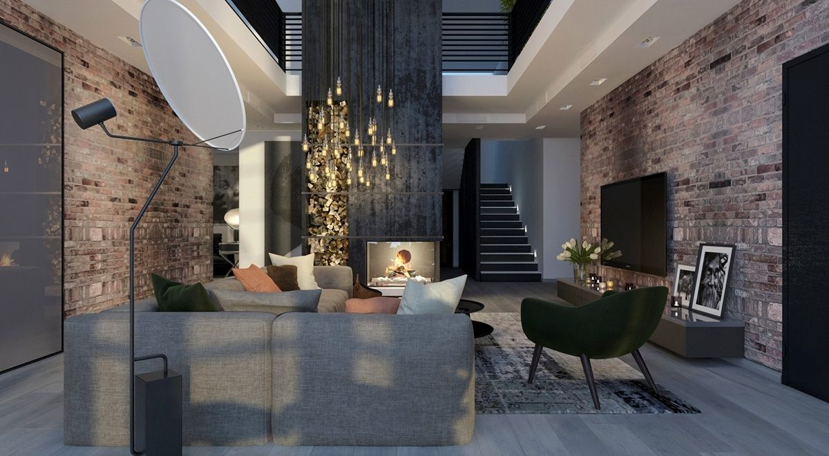 Dark Interior Style Modern Luxury Living Room Ideas Residential Lightinginterior